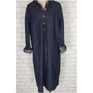 Tommy Hilfiger Chambray Button Tab Shirt Dress M
